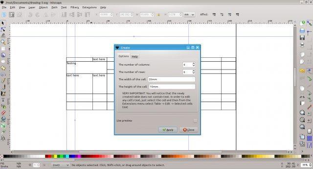 Crear tablas en Inkscape (En Ubuntu)